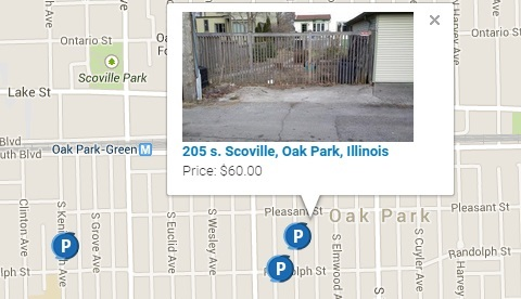 An example of an available parking space on the ShareASpot web page