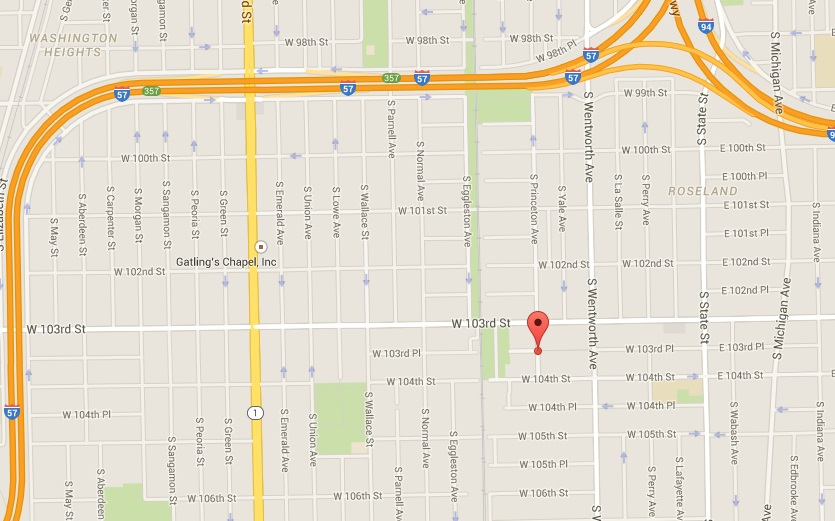 Approximate location of the crime scene at the 300 block of West 103rd Pl.