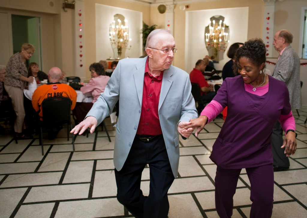 John Harrast and Oak Park Arms employee Donna Murrell dance as The Freenotes orchestra performs during Oak Park Arms Valentine's Day Ballroom Dance Sunday, February 14, 2016, in Oak Park.