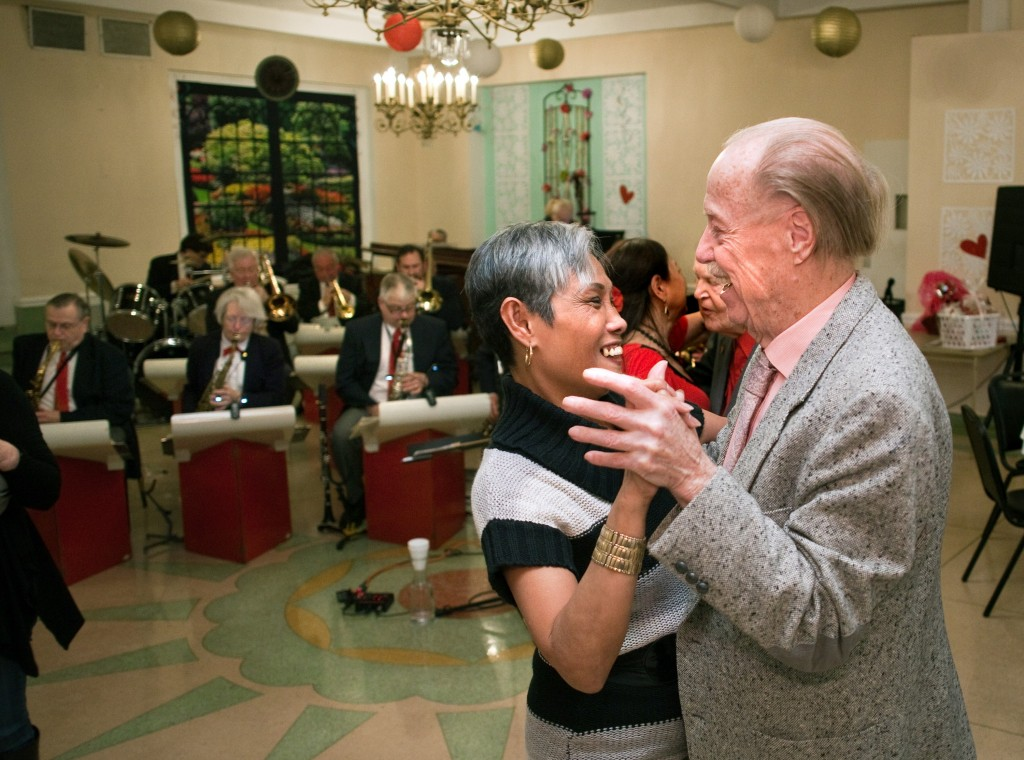 Gloria Garcera and Don Ericksen dance during Oak Park Arms Valentine's Day Ballroom Dance with music by The Freenotes orchestra Sunday, February 14, 2016, in Oak Park.